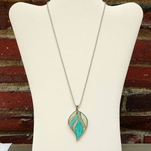 Blue and green enamel pendant necklace w/cz